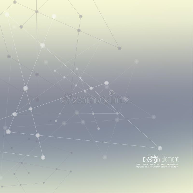 Fondo abstracto con Dots Array y las líneas ilustración del vector
