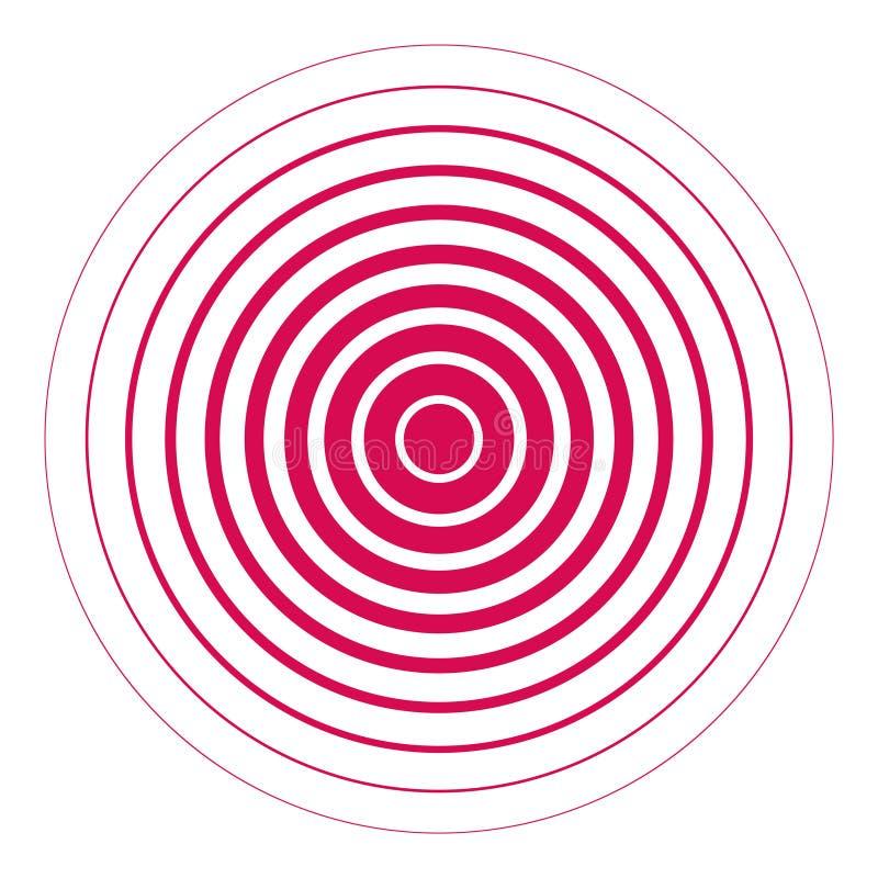 Fondo abstracto con el círculo radial rojo Vector ilustración del vector