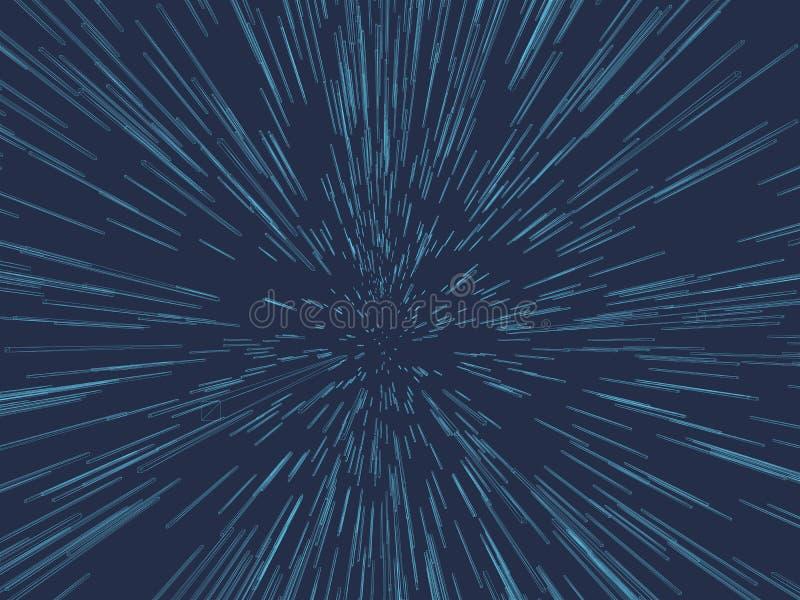 Fondo abstracto con el efecto de la aceleración 3D mucho wireframe de rectángulos azules Ilustración del vector stock de ilustración