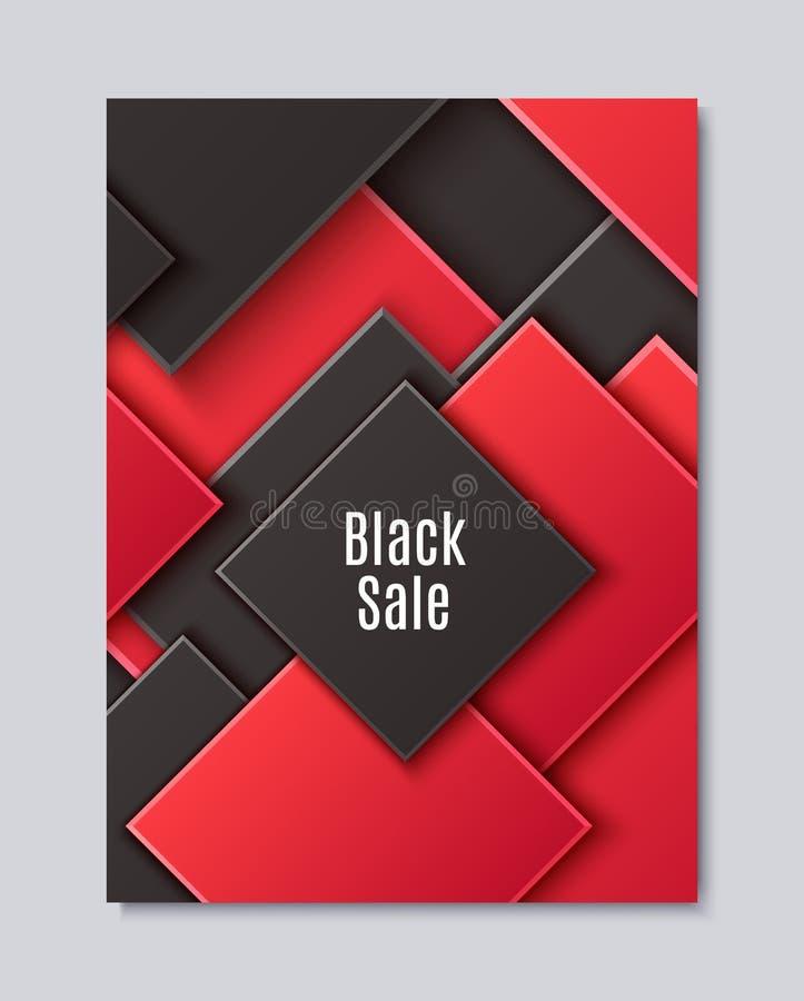Fondo abstracto con el Rhombus acodado negro y rojo Modelo geométrico del corte de papel minimalistic del vector Concepto de dise ilustración del vector