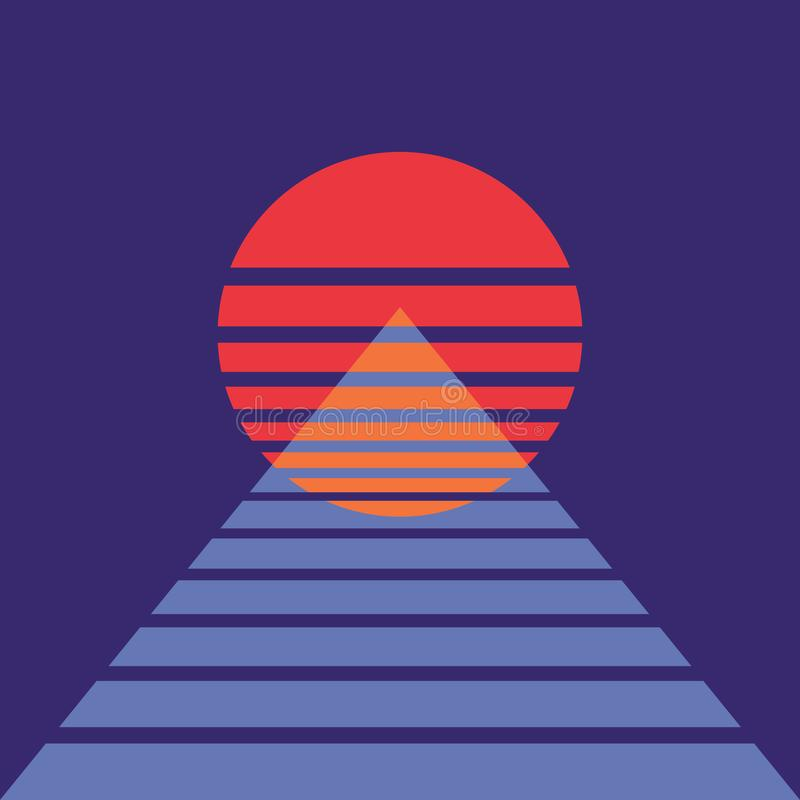 Fondo abstracto con el sol y la pirámide en estilo retro Para la cubierta del álbum de la música Cartel para el baile de la noche libre illustration