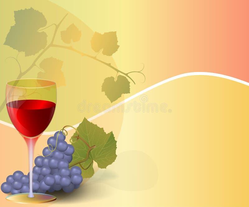 Fondo abstracto con el vidrio del vino y de la uva libre illustration