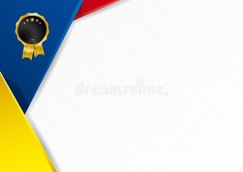 Fondo abstracto con formas con los colores de la bandera de Ecuador stock de ilustración