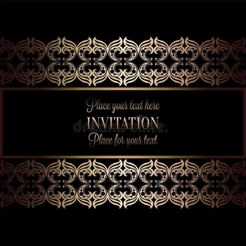 Fondo abstracto con la antigüedad, el negro de lujo y el marco del vintage del oro, bandera del victorian, ornamentos del papel p libre illustration