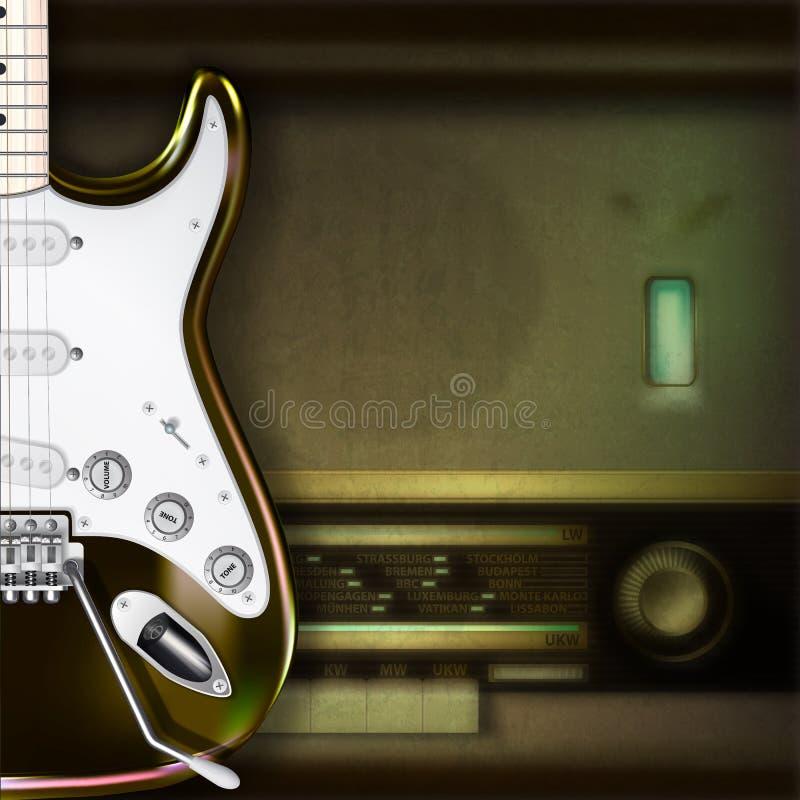 Fondo abstracto con la guitarra eléctrica y la radio retra imagen de archivo