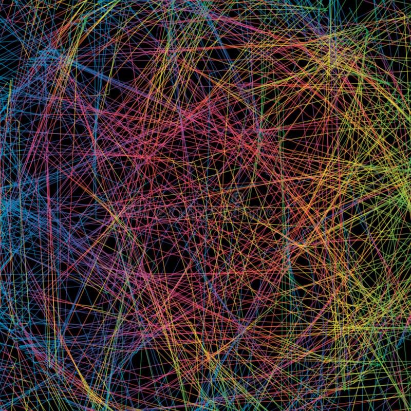 Fondo abstracto con la intersección de líneas coloridas Azul, gree ilustración del vector