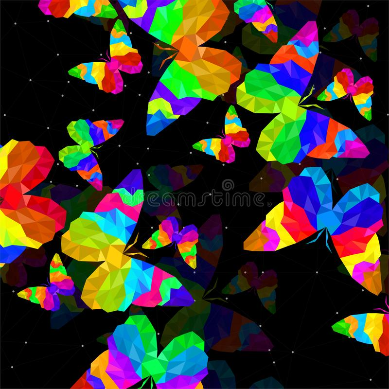 Fondo abstracto con la mariposa de tri?ngulos coloridos, estructura geom?trica poligonal ilustración del vector