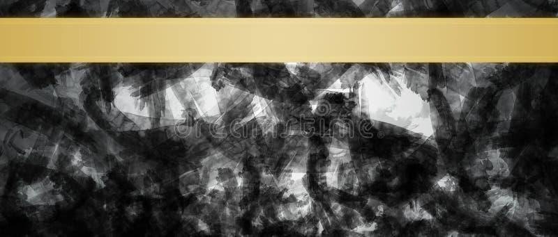 Fondo abstracto con la plantilla del diseño del título de las rayas de la cinta del oro imagen de archivo