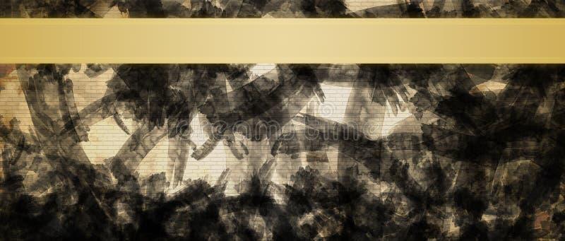 Fondo abstracto con la plantilla del diseño del título de las rayas de la cinta del oro imágenes de archivo libres de regalías
