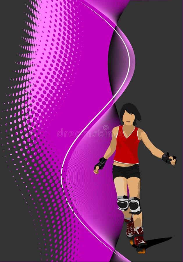 Fondo abstracto con la silueta del patinador del rodillo stock de ilustración
