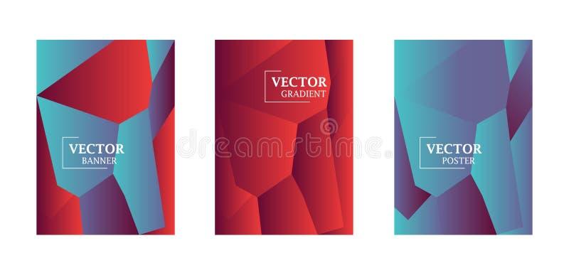 Fondo abstracto con la textura de la pendiente, modelo geométrico con el polígono Pendiente azul, roja, violeta stock de ilustración