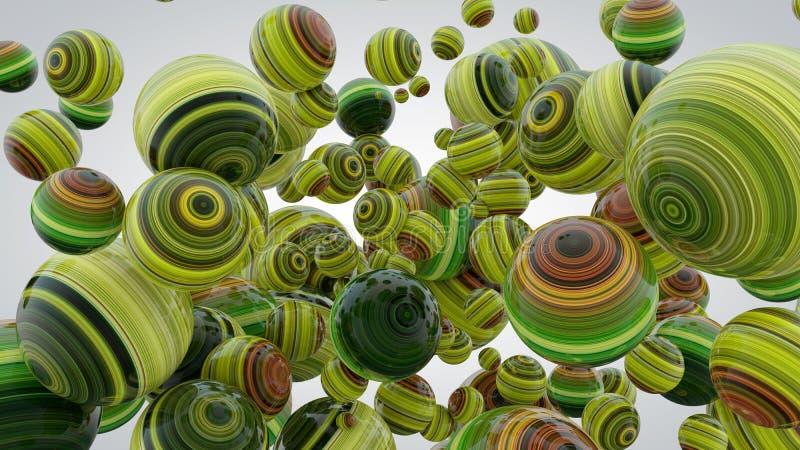 Fondo abstracto con las bolas del verdor, representación 3D, estirada stock de ilustración