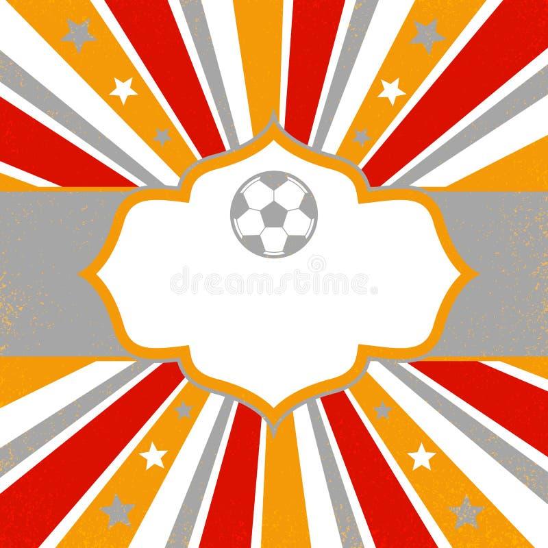 Fondo abstracto con las estrellas, el balón de fútbol y las rayas stock de ilustración