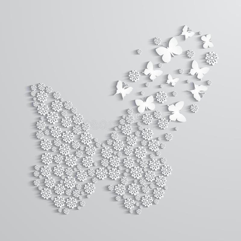 Fondo abstracto con las flores de papel y la mariposa libre illustration