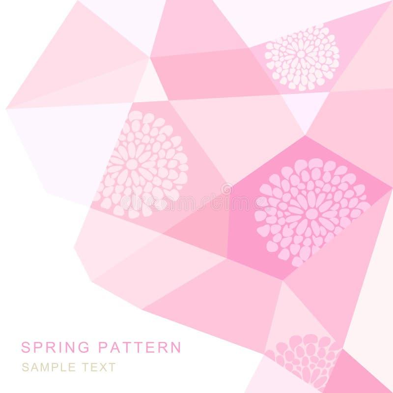Fondo abstracto con las flores, ejemplo moderno de la primavera del triángulo stock de ilustración