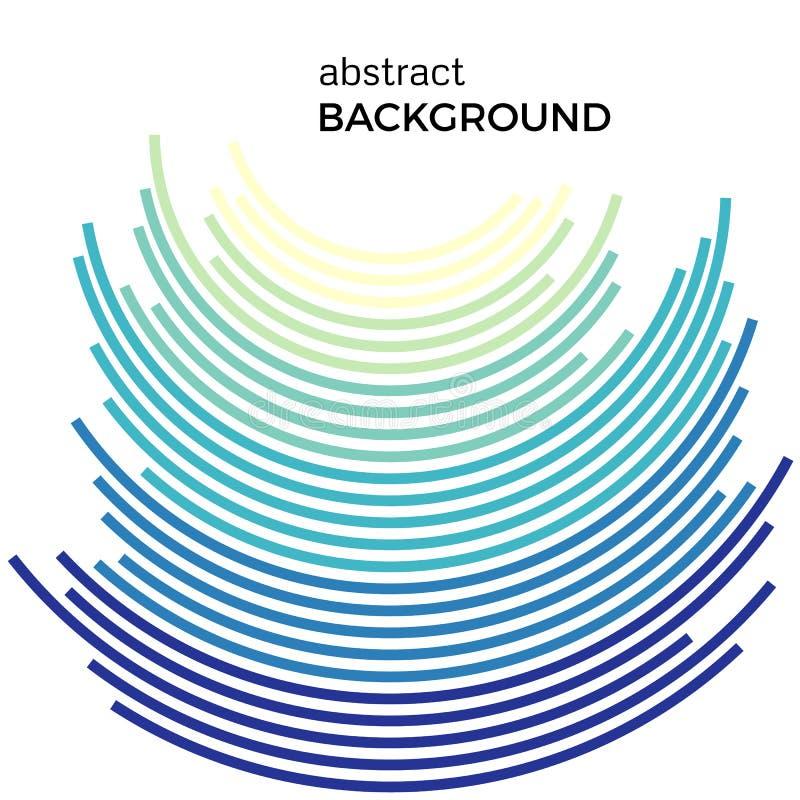 Fondo abstracto con las líneas coloridas del arco iris y los pedazos que vuelan libre illustration