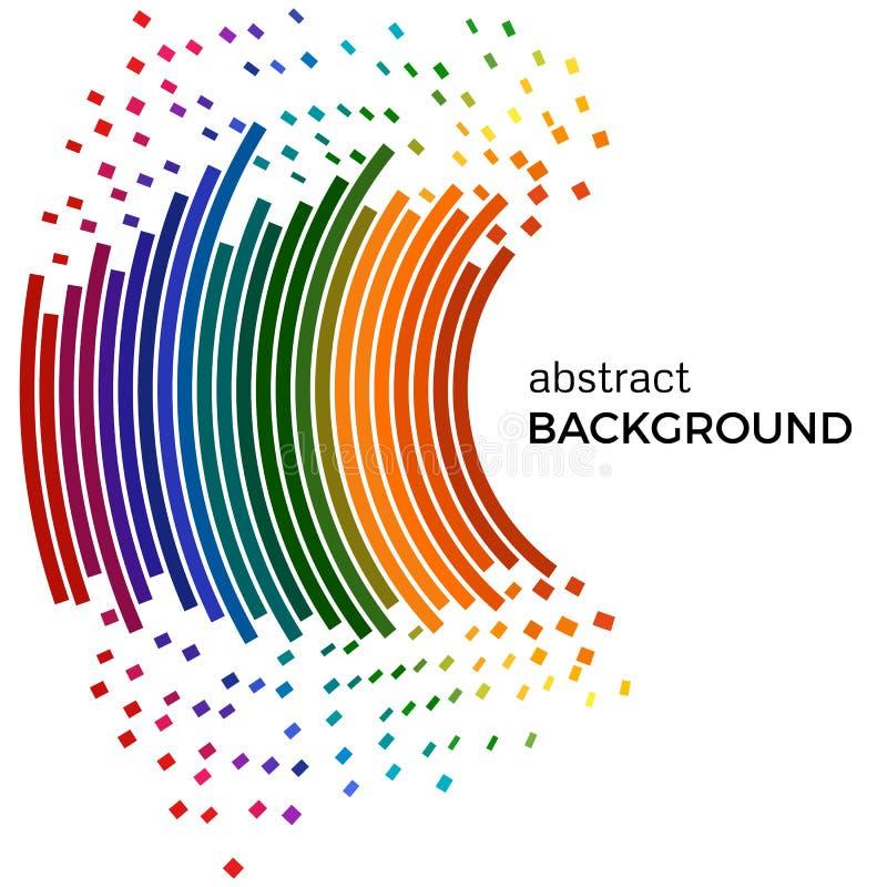 Fondo abstracto con las líneas coloridas del arco iris y los pedazos que vuelan Círculos coloreados con el lugar para su texto stock de ilustración