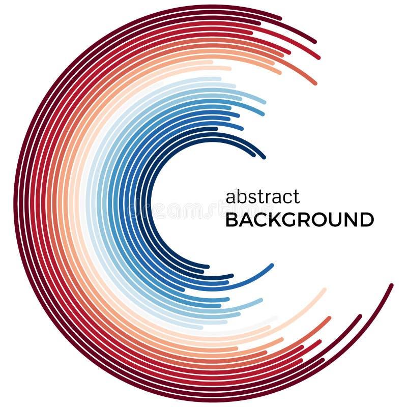 Fondo abstracto con las líneas coloridas rojas y azules brillantes stock de ilustración