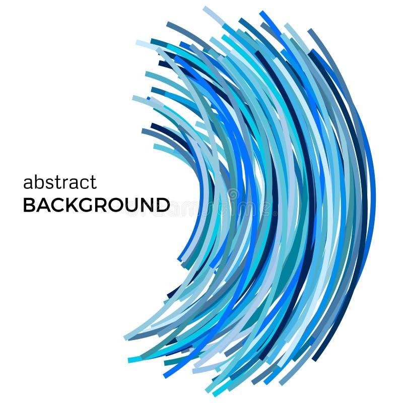Fondo abstracto con las líneas curvadas coloridas azules en una orden caótica stock de ilustración