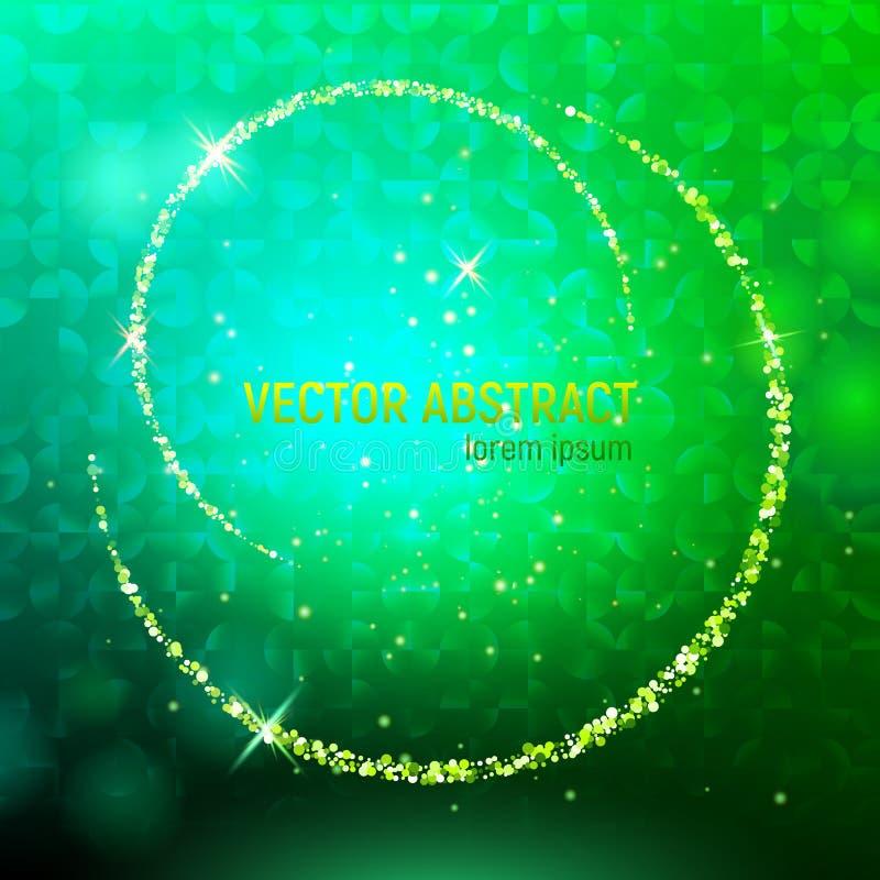 Fondo abstracto con las llamaradas luminosas verdes del contexto y de la lente, y reflexiones que brillan intensamente malla verd foto de archivo