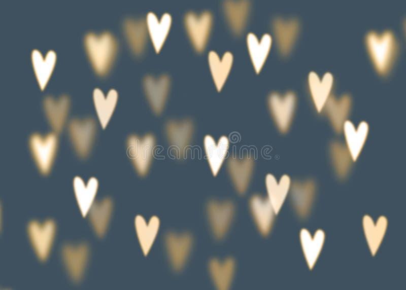 Fondo abstracto con las luces en forma de corazón de oro del bokeh ilustración del vector