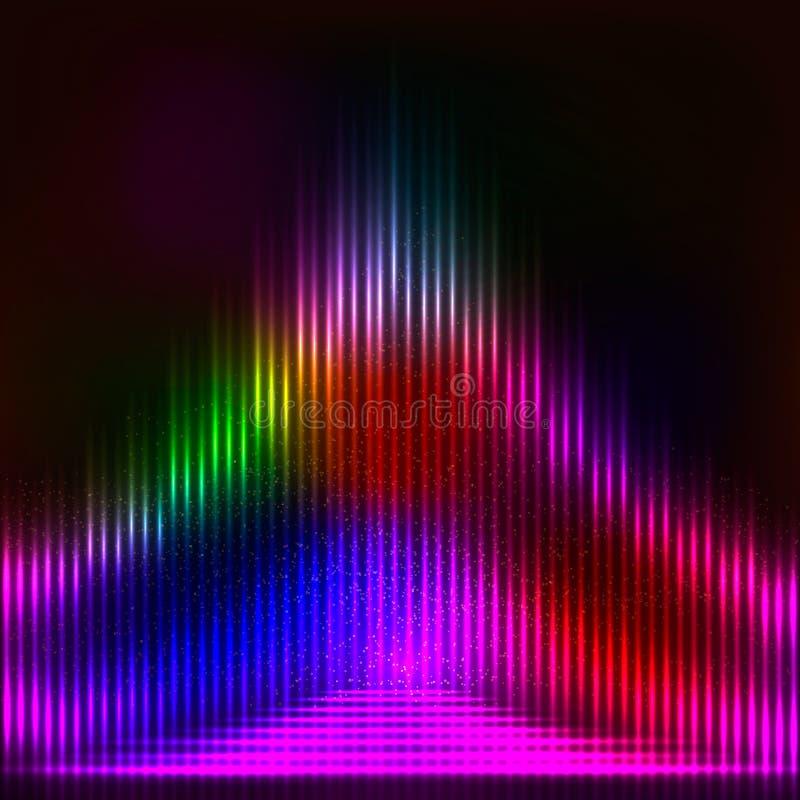 Fondo abstracto con las luces mágicas brillantes ilustración del vector