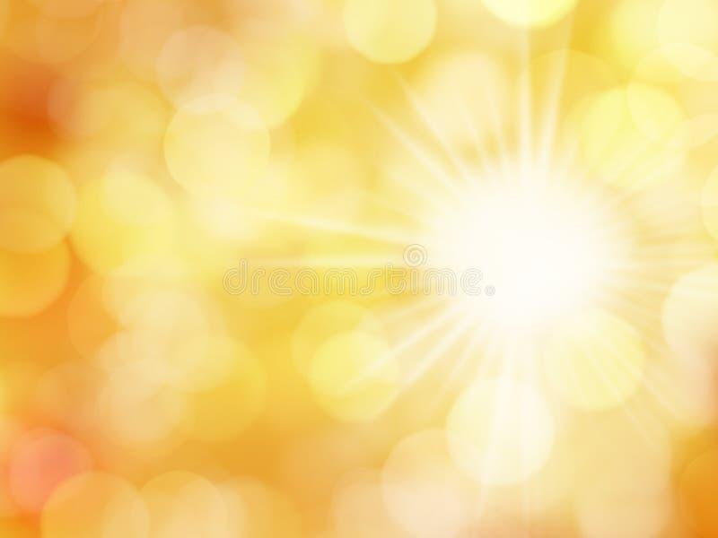 Fondo abstracto con las luces y Sun de Bokeh ilustración del vector