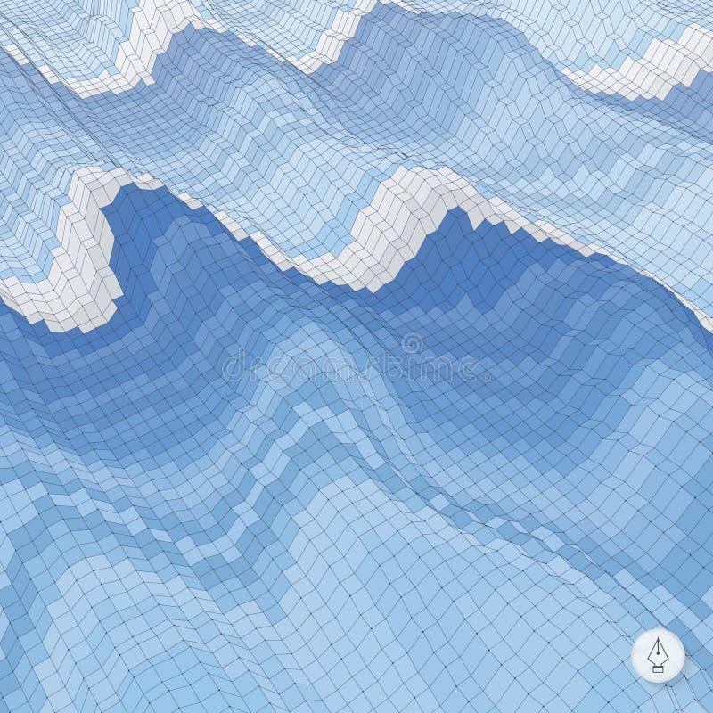 Fondo abstracto con las ondas mosaico vector 3d libre illustration