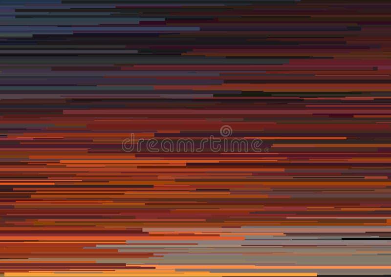 Fondo abstracto con las rayas horizontales glitched, líneas de corriente Concepto de estética del error de la señal stock de ilustración