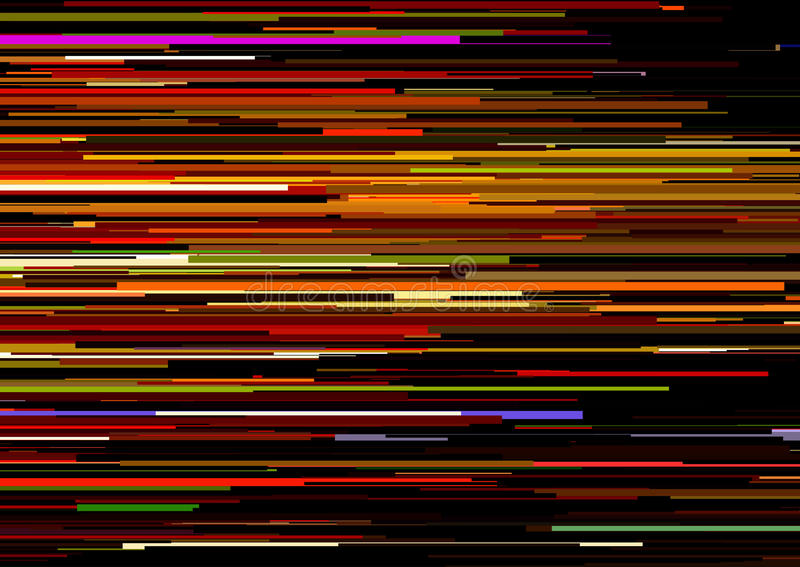Fondo abstracto con las rayas horizontales glitched, líneas de corriente Concepto de estética del error de la señal libre illustration
