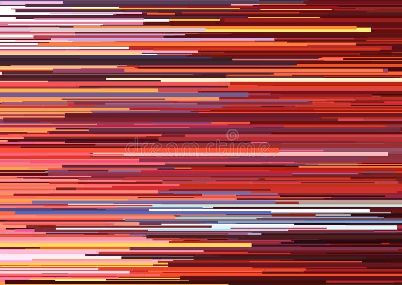 Fondo abstracto con las rayas horizontales glitched, líneas de corriente Concepto de estética del error de la señal ilustración del vector
