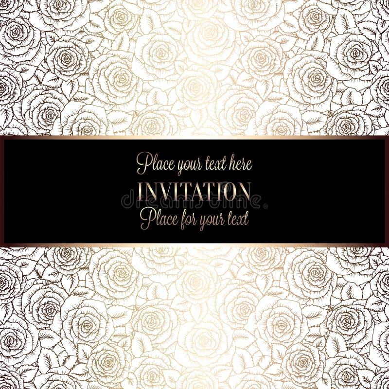 Fondo abstracto con las rosas, el blanco de lujo y el tracery del vintage del oro hechos de las rosas, ornamentos del papel pinta libre illustration