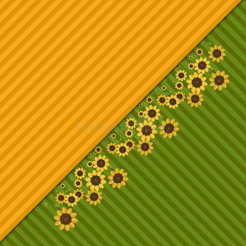 Fondo abstracto con los campos y los girasoles coloridos libre illustration