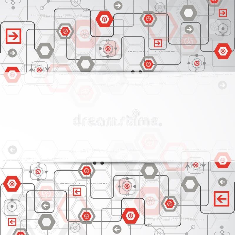 Fondo abstracto con los diversos elementos tecnológicos libre illustration