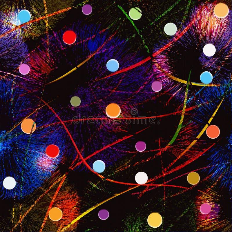 Fondo abstracto con los fuegos artificiales coloridos, bolas, guirnaldas libre illustration