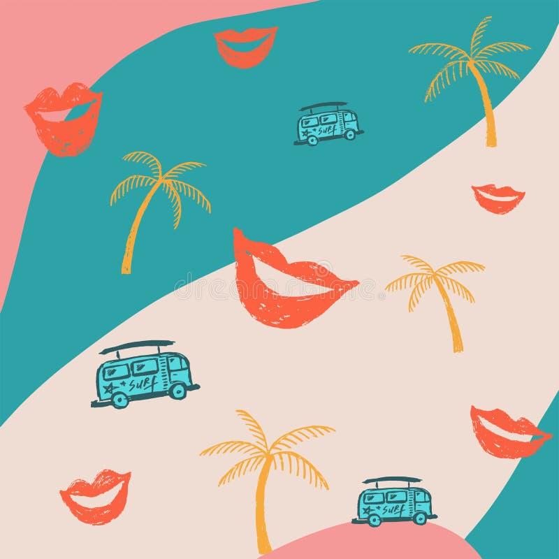 Fondo abstracto con los labios y palmeras y autobuses rojos ilustración del vector