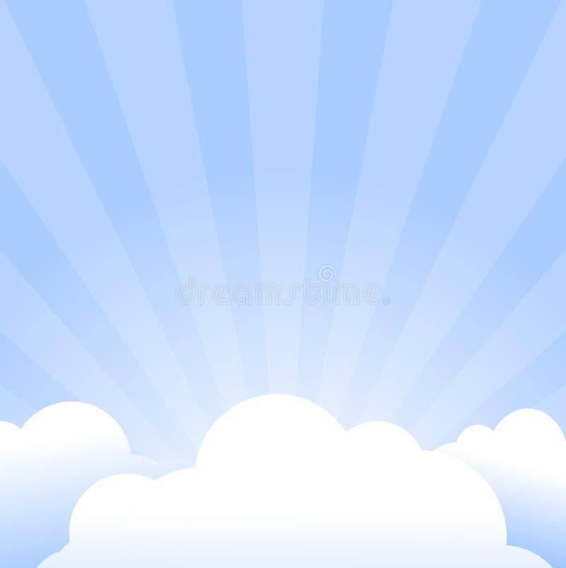 Fondo abstracto con los rayos y el marco de la nube stock de ilustración