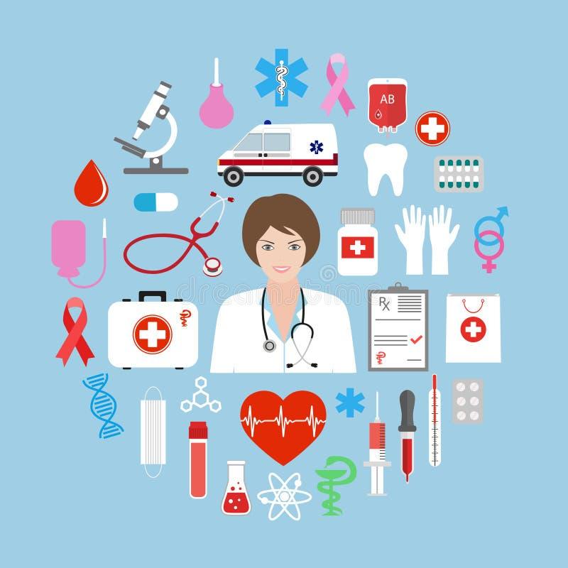 Fondo abstracto con médico, salud, atención sanitaria, doctor, píldoras, símbolos cruzados de la medicina Elementos del diseño pa stock de ilustración