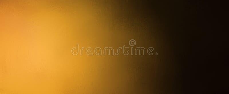 Fondo abstracto con oro de la pendiente y colores negros con textura borrosa, oscuridad elegante y fondo ligero stock de ilustración