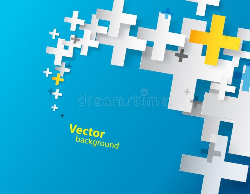 Fondo abstracto creado con el signo más. ilustración del vector