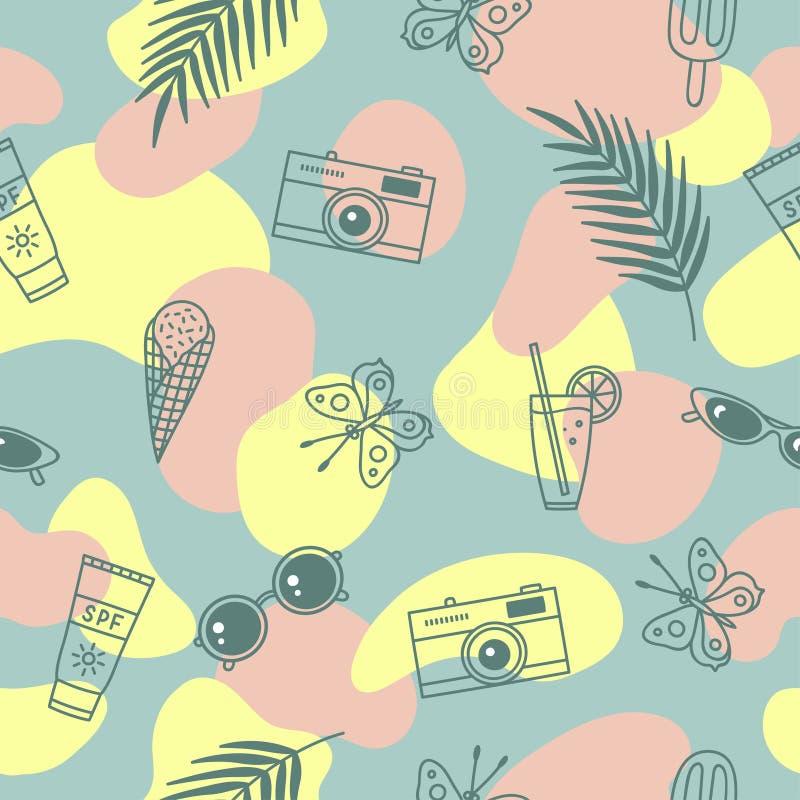 Fondo abstracto creativo Modelo incons?til lindo con s?mbolos del verano stock de ilustración