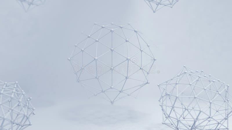 fondo abstracto 3D con Dots Array y las líneas Estructura de la conexi?n Concepto moderno geom?trico de la tecnolog?a ilustración del vector