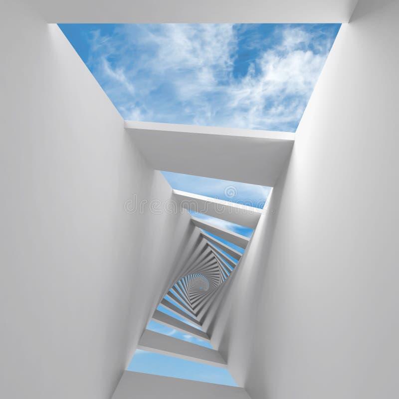 Fondo abstracto 3d con el pasillo y el cielo torcidos ilustración del vector