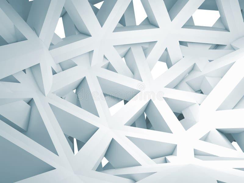 Fondo abstracto 3d con la construcción blanca caótica ilustración del vector