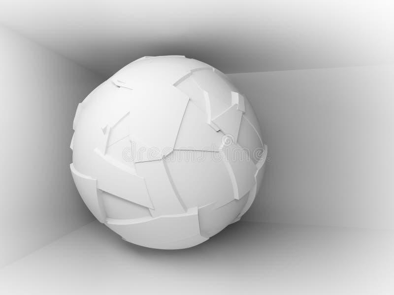 Fondo abstracto 3d con la esfera grande blanca del vuelo libre illustration