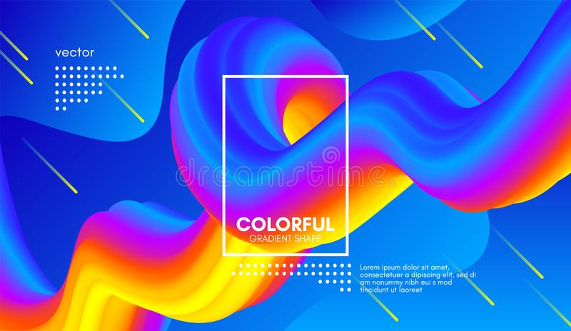 Fondo abstracto 3d Forma colorida del líquido de la onda stock de ilustración