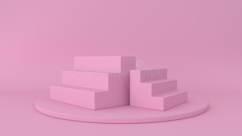 fondo abstracto 3d rendir Plataforma para la exhibición del producto Lugar interior del podio Plantilla en blanco de la decoració stock de ilustración