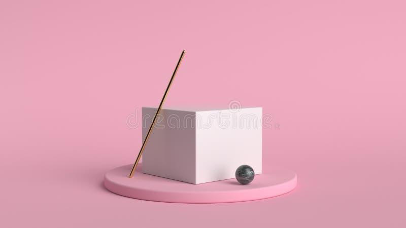 fondo abstracto 3d rendir Plataforma rosada para la exhibición del producto Lugar interior del podio Plantilla en blanco de la de stock de ilustración