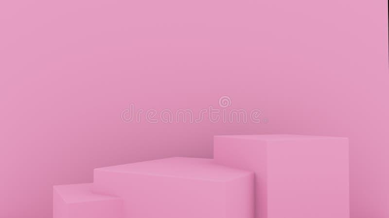 fondo abstracto 3d rendir Plataforma rosada para la exhibición del producto Lugar interior del podio Plantilla en blanco de la de libre illustration