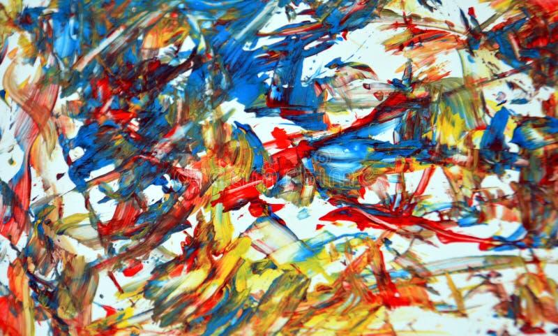 Fondo abstracto de acrílico amarillo anaranjado, textura y movimientos del contraste de la pintura fosforescente gris roja de la  ilustración del vector